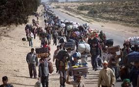 El drama de los refugiados. Foto de una columna de refugiados caminando junto a una carretera