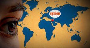 El drama de los refugiados. Foto de ojos mirando mapamundi con el centro en Siria