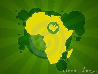 Espiritualidad cristiana y ecología. Dibujo de África con un corazón dentro