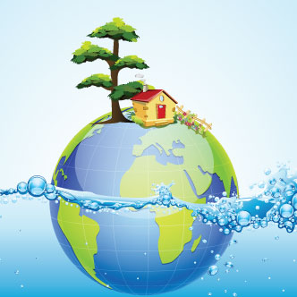 Espiritualidad cristiana y ecología. Dibujo que representa el mundo flotando sobre el agua... pero con todo el sur sumergido