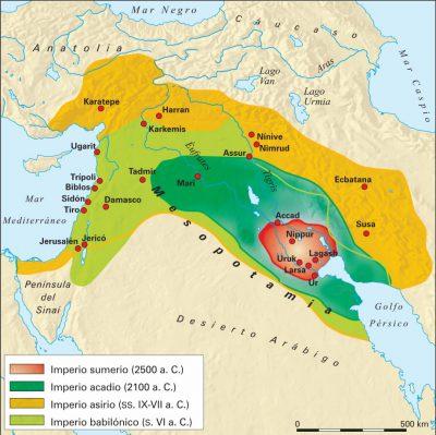 Los profetas del Antiguo Testamento. Mapa de la antigua Mesopotamia