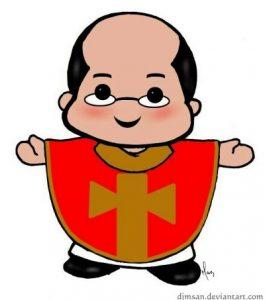 Nulidad de la ordenación sacerdotal. Dibujo de sacerdote sonriente y revestido con una casulla roja