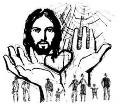 Dibujo de Jesús de Nazaret con su corazón en sus manos. Debajo, en tamaño mucho menor, se ven varios adultos  y algunos niños