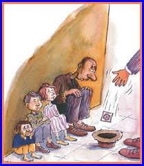 Dibujo de una familia pobre pidiendo limosna. Tienen un sombrero en el suelo esperando que les echen dinero. En lugar de eso, un viandante echa un condón en el sombrero.