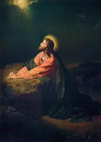 Cristo en el huerto de Getsemaní. Cuadro de Heinrich Hofmann. 1890.