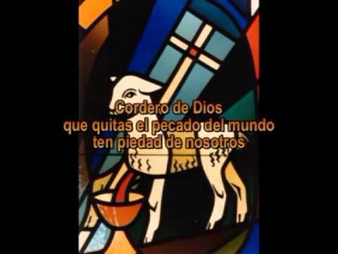 cordero de Dios que quitas el pecado del mundo ten piedad de nosotros. Palabras que aparecen sobre un dibujo de un cordero desangrándose