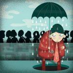 Evangelización versus militancia. Chiste que representa a un individuo bajo un paraguas abierto. En la calle no llueve, pero sí que lo hace debajo del paraguas