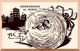 """Evangelización versus militancia. Dibujo que representa una enorme tela de araña en forma de madeja junto a una araña también enorme. Dentro de la tela de araña hay un hombre y una mujer junto con un perro. Fuera un hombre corre a refugiarse en la tela de araña, mientras los de dentro le dicen: """"¡Bienvenido al nido!"""""""