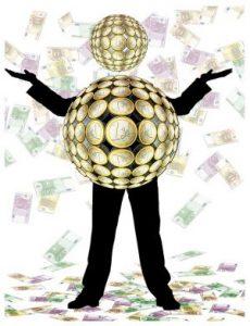 Dibujo de un hombre cuyo cuerpo está rodeado por una esfera cuya superficie está cubierta de monedas de euro. La cabeza es una esfera igual, pero más pequeña. A su alrededor vuelan billetes de 100, 200 y 500 euros, que también alfombran el suelo
