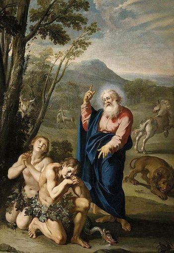 Expulsión de Adán y Eva del paraíso. Cuadro de Aureliano Milani