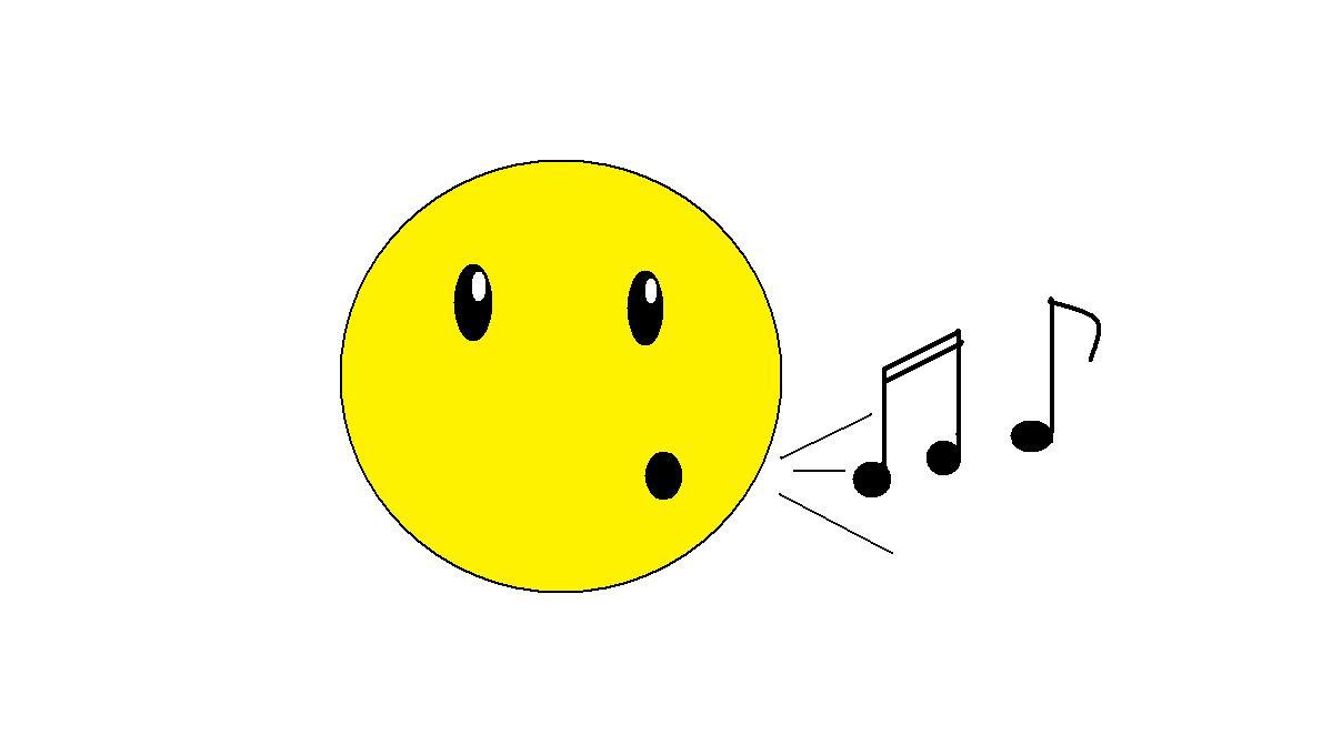 Dibujo que representa un emoticón silbando