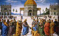 Cristo le entrega las llaves a san Pedro. Cuadro de Pietro Perugino