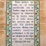 Los discípulos piden a Jesús que les enseñe a orar. Jerusalén. Iglesia del padrenuestro. Azulejos representando el padrenuestro en español