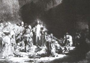 Cristo curando a un enfermo. Cuadro de Rembrandt