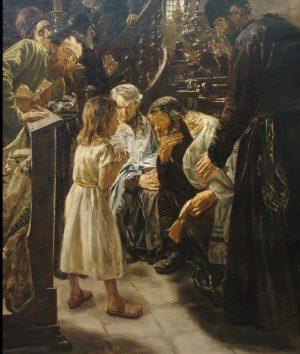 Jesús de 12 años en el templo. Cuadro de Salvador García Bardón