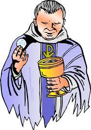La eucaristía. Dibujo de sacerdote preparándose para repartir la comunión