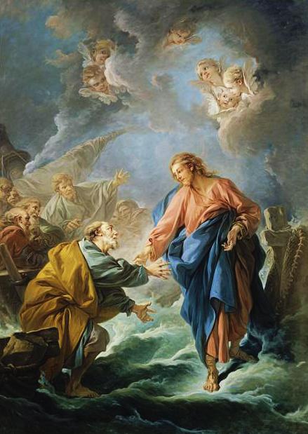 Cuadro de François Boucher. San Pedro intentando andar sobre las aguas