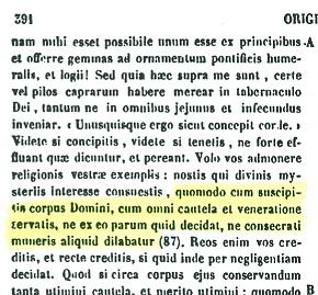 Presencia real de Cristo en la eucaristía. Orígenes (PG 12,391 A)