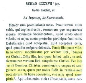 Presencia real de Cristo en la eucaristía. San Agustín (PL 38,1099)