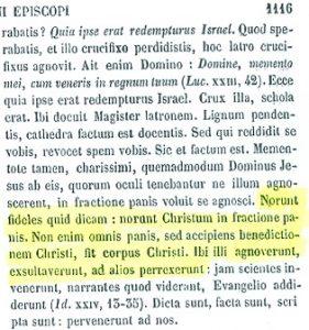 Presencia real de Cristo en la eucaristía. San Agustín (PL 38,1116)