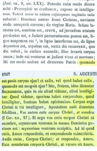 Presencia real de Cristo en la eucaristía. San Agustín (PL 38,1246-1247)