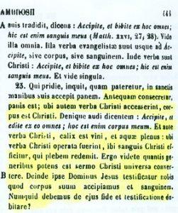 Presencia real de Cristo en la eucaristía. San Ambrosio (PL 16,444 A-B)
