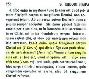 Presencia real de Cristo en la eucaristía. San Isidoro de Sevilla (PL 83,755 A)