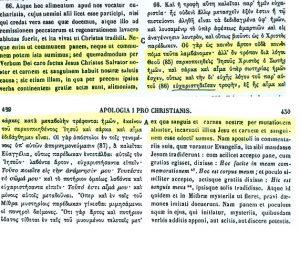 Presencia real de Cristo en la eucaristía. San Justino, Apología I (PG 6,428C-429A)
