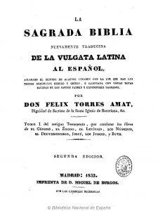 Dominio público. Portada de la Biblia de Don Félix Torres Amat