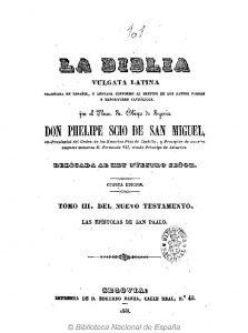Dominio público. Portada de la Biblia Vulgata latina traducida al castellano por el P. Felipe Scio de S. Miguel. Impreso en Segovia
