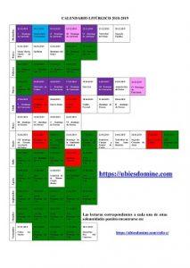 Lecturas del domingo y solemnidades - ciclo C - Calendario litúrgico 2018-2019
