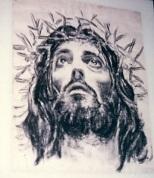 Conocimiento interno del Señor. Dibujo a carboncillo del rostro de Jesús coronado de espinas