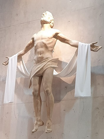 La Ascensión del Señor. Fotografía de la imagen situada en el retablo de la parroquia de la Santísima Trinidad en Collado-Villalba (Madrid)