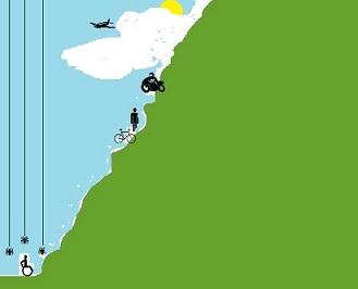 Resumen de la encíclica Fratelli tutti. Dibujo que representa una persona en una silla de ruedas al pie de una montaña muy escarpada. La única ayuda que recibe es de tres arañas que tratan de rescatarla.