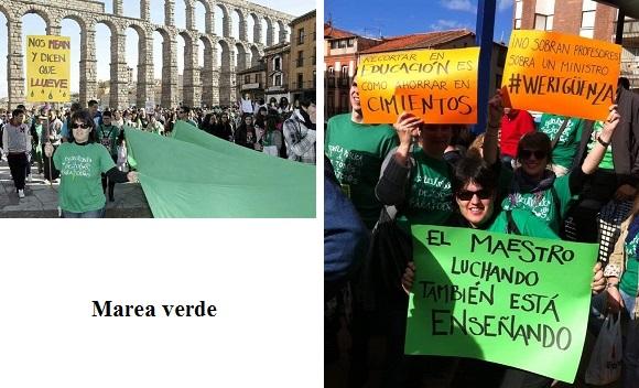 Nueva evangelización. Fotografías correspondientes a una manifestación de la marea verde. Segovia