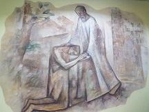 Conocimiento interno del Señor. Mural que preside las escaleras del colegio Regina Assumpta en Cercedilla (Madrid)