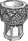 conversión. Dibujo de pila bautismal